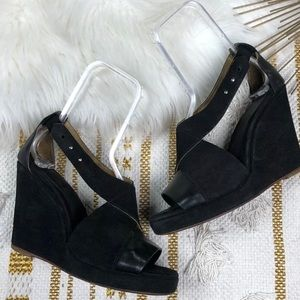 Rag & Bone Black Suede Strappy Wedges Size 8.5